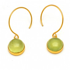 Prehnite Round Cabochon Gemstone 925 Sterling Silver Gold Plated Dangle Earrings