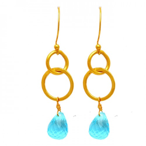 Sky Blue Topaz Pear Drops Shape Gemstone 925 Sterling Silver Gold Plated Earrings
