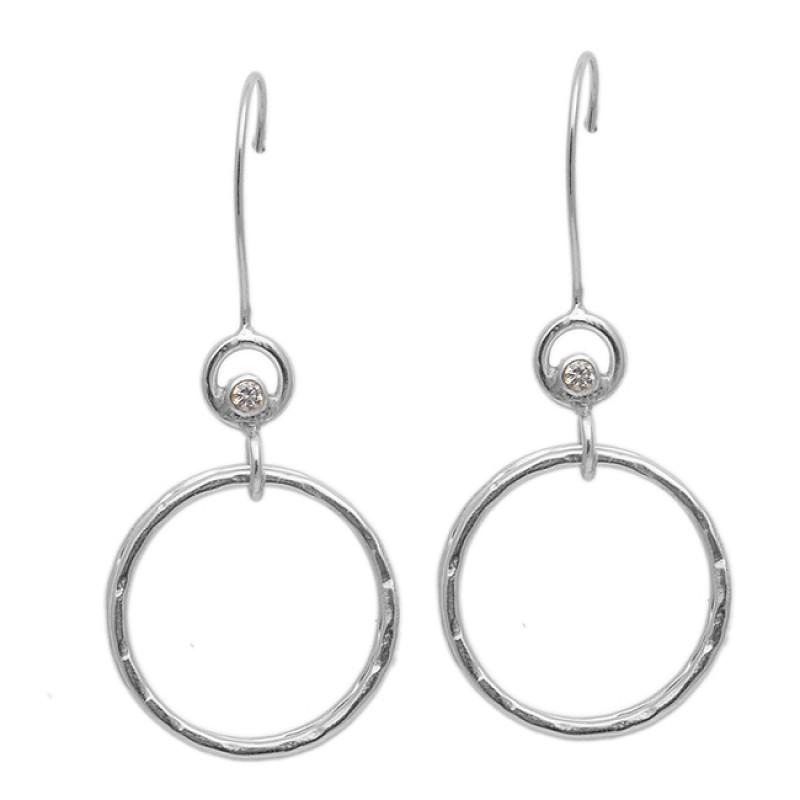 925 Sterling Silver Cubic Zirconia Gemstone Gold Plated Dangle Handmade Earrings
