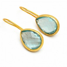 Briolette Pear Shape Sky Blue Topaz Gemstone 925 Sterling Silver Gold Plated Earrings
