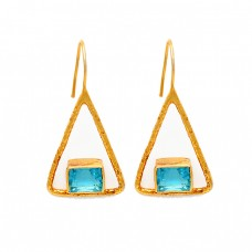 Octagon Shape Sky Blue Topaz Gemstone 925 Sterling Silver Gold Plated Earrings