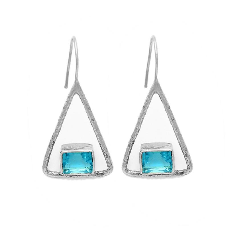 Octagon Shape Sky Blue Topaz Gemstone 925 Sterling Silver Gold Plated Earrings
