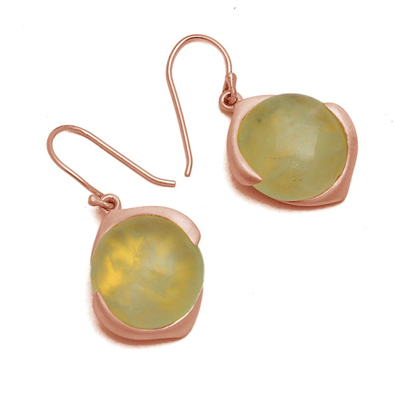 Round Cabochon Prehnite Gemstone 925 Sterling Silver Gold Plated Dangle Earrings