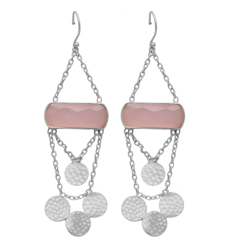 Rectangle Shape Rose Quartz Gemstone Chain Hanging Gold Plated Earrings