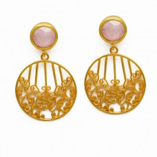Filigree Style Designer Pink Quartz Gemstone 925 Silver Gold Plated Earrings
