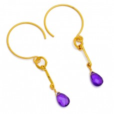 Purple Amethyst Briolette Pear Shape Gemstone Gold Plated Hoop Earrings
