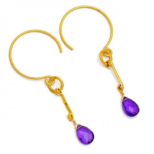 Purple Amethyst Briolette Pear Shape Gemstone Gold Plated Hoop Earrings