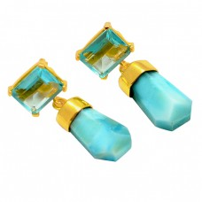 Larimar Sky Blue Topaz Gemstone 925 Sterling Silver Gold Plated Designer Dangle Earrings