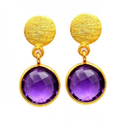 Round Shape Amethyst Gemstone 925 Sterling Silver Gold Plated Handmade Stud Earrings