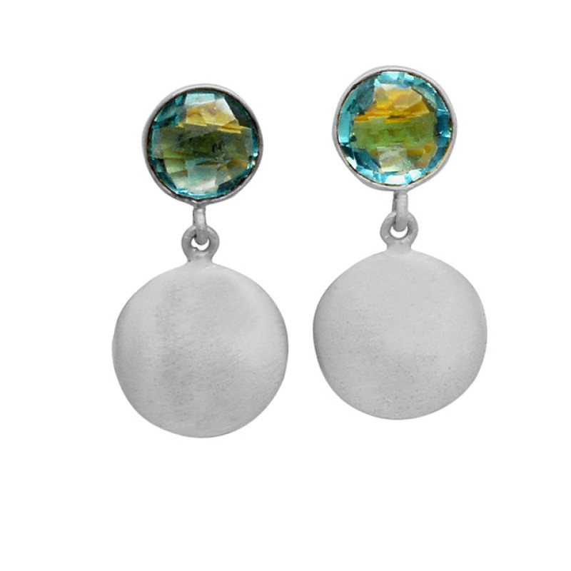 Round Shape Sky Blue Topaz Gemstone 925 Sterling Silver Gold Plated Designer Earrings
