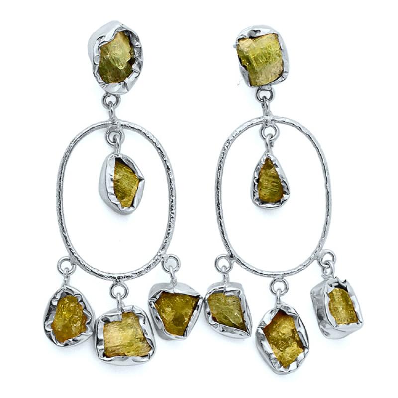 Green Kyanite Rough Gemstone 925 Sterling Silver Gold Plated Stud Dangle Earrings