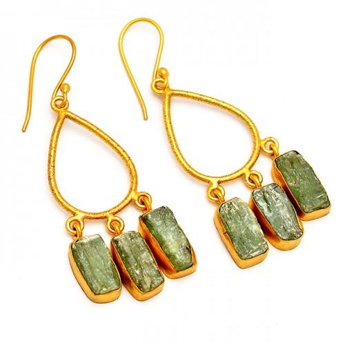 Raw Material Green Kyanite Rough Gemstone 925 Silver Gold Plated Dangle Earrings