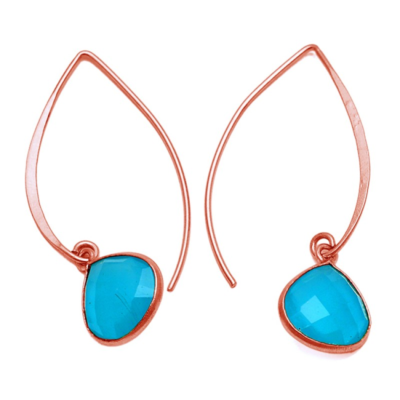 925 Sterling Silver Heart Shape Aqua Chalcedony Gemstone Gold Plated Hoop Earrings