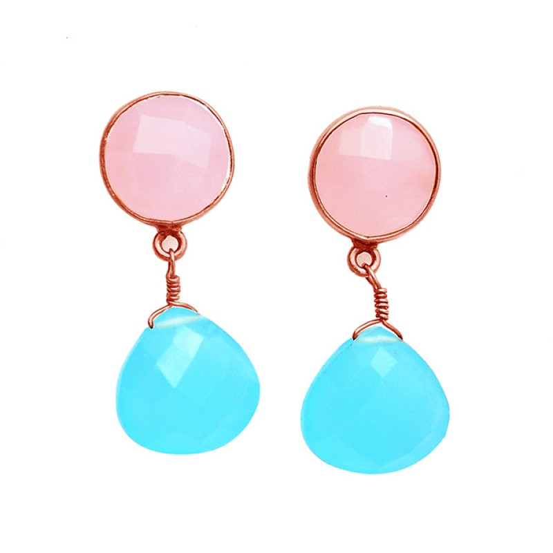 Pink Quartz Chalcedony Gemstone 925 Sterling Silver Gold Plated Stud Dangle Earrings