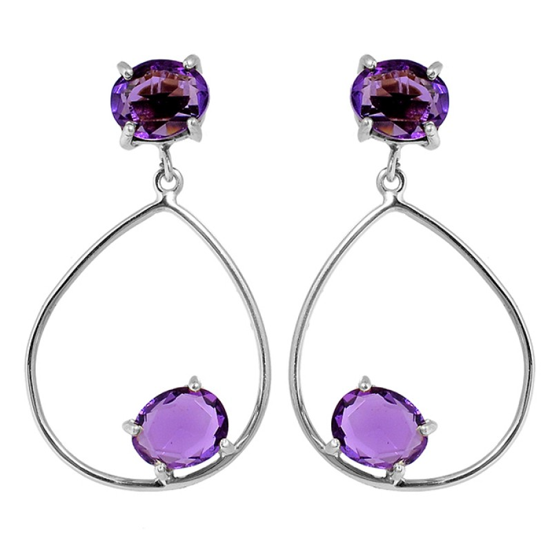 Purple Amethyst Faceted Oval Shape Gemstone 925 Silver Gold Plated Dangle Earrings