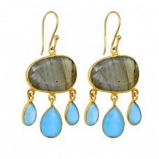 Labradorite Aqua Chalcedony Gemstone 925 Silver Gold Plated Dangle Earrings