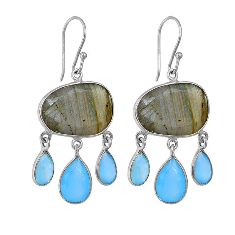 Labradorite Aqua Chalcedony Gemstone 925 Silver Gold Plated Dangle Earrings