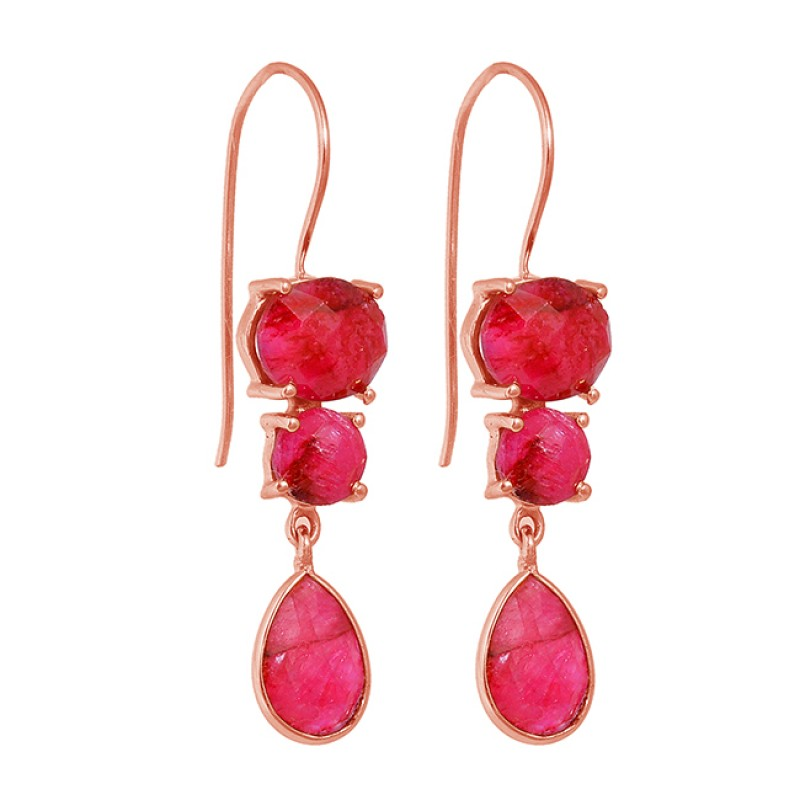 Prong Setting Ruby Gemstone 925 Sterling Silver Gold Plated Dangle Earrings