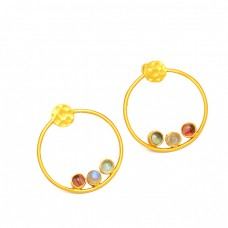 925 Sterling Silver Round Cabochon Multi Color Gemstone Gold Plated Stud Earrings