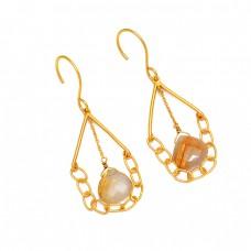 Heart Shape Golden Rutile Quartz Gemstone 925 Sterling Silver Gold Plated Earrings