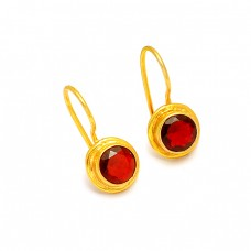 925 Sterling Silver Garnet Round Shape Gemstone Gold Plated Designer Earrings