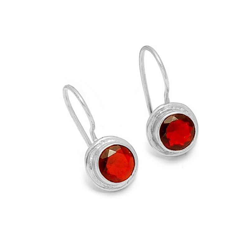 925 Sterling Silver Garnet Round Shape Gemstone Gold Plated Designer Earrings