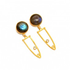 925 Sterling Silver Labradorite CZ Gemstone Gold Plated Dangle Stud Earrings