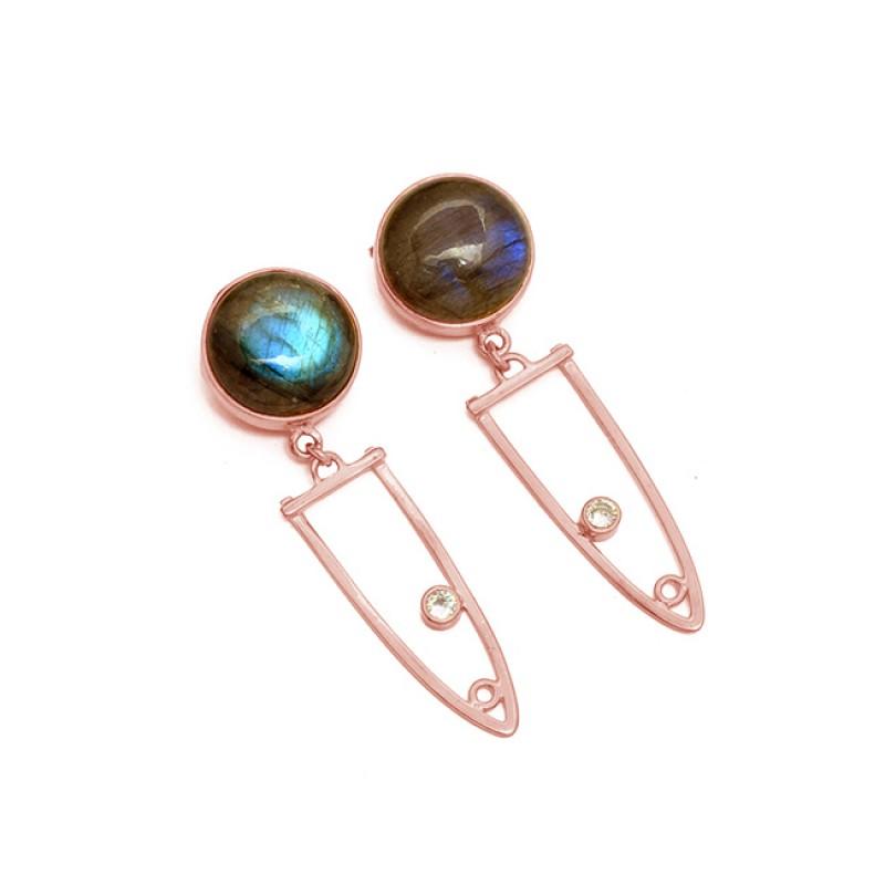 925 Sterling Silver Labradorite CZ Gemstone Gold Plated Dangle Stud Earrings