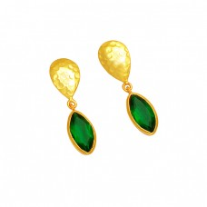 Green Quartz Gemstone 925 Sterling Silver Gold Plated Hammered Dangle Stud Earrings