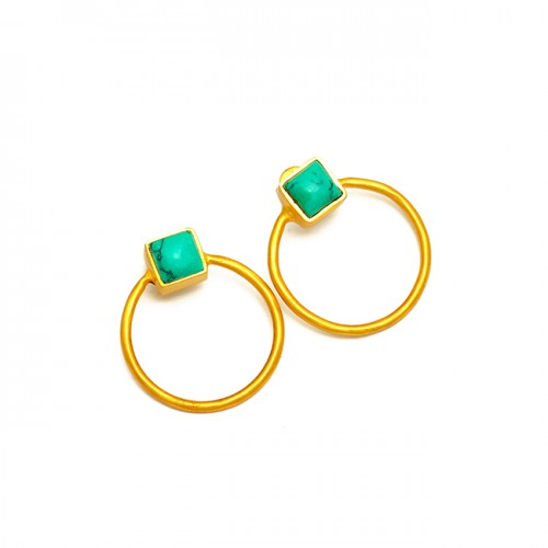 Cushion Shape Turquoise Gemstone 925 Sterling Silver Gold Plated Stud Earrings