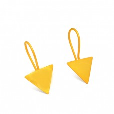 Handcrafted Designer Triangle Shape Plain Designer 925 Sterling Silver Gold Plated Earrings
