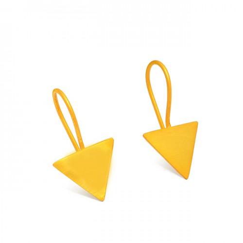 Handcrafted Designer Triangle Shape Plain Designer 925 Sterling Silver Gold Plated Earrings