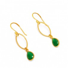 Pear Shape Green Onyx Gemstone 925 Sterling Silver Gold Plated Dangle Earrings