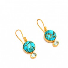 925 Sterling Silver Turquoise Blue Topaz Gemstone Gold Plated Dangle Earrings