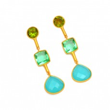 925 Sterling Silver Multi Color Gemstone Gold Plated Designer Stud Dangle Earrings