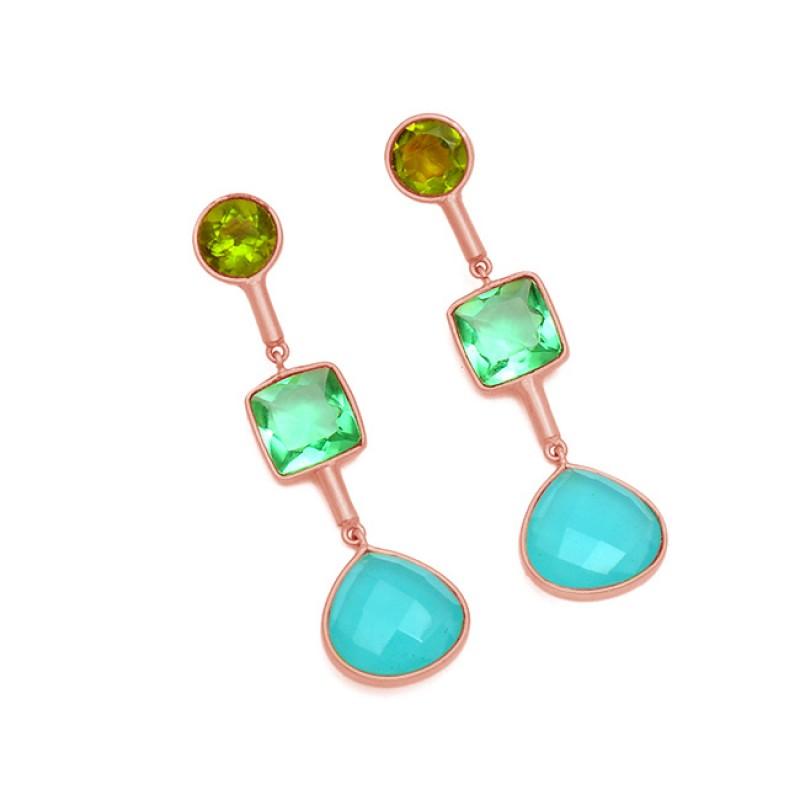 925 Sterling Silver Multi Color Gemstone Gold Plated Designer Stud Dangle Earrings