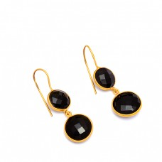 Bezel Setting Black Onyx Round Gemstone 925 Silver Gold Plated Dangle Earrings