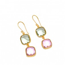 Cushion Shape Green Amethyst Pink Quartz Gemstone 925 Silver Gold Plated Earrings