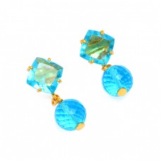 925 Sterling Silver Blue Topaz Gemstone Gold Plated Stud Designer Earrings