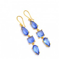Blue Quartz Pear Cushion Shape Gemstone 925 Sterling Silver Gold Plated Earrings