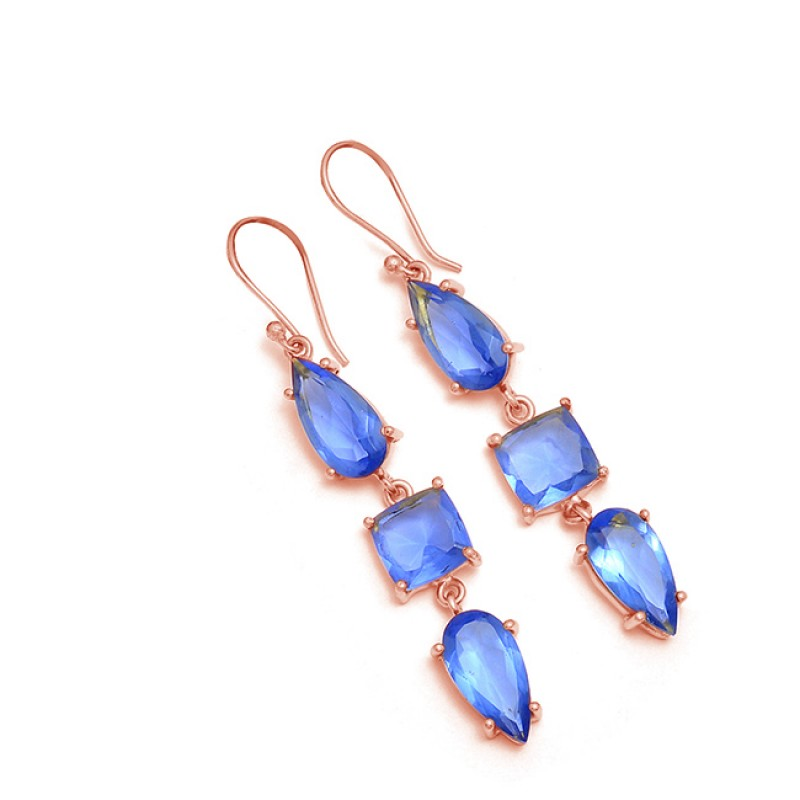 Blue Quartz Pear Cushion Shape Gemstone 925 Sterling Silver Gold Plated Earrings