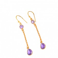 925 Sterling Silver Amethyst Gemsone Chain Dangle Gold Plated Earrings