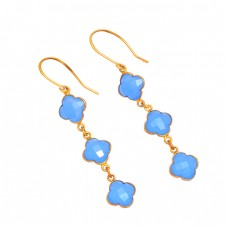 925 Sterling Silver Carved Flower Shape Chalcedony Gemstone Gold Plated Earrings