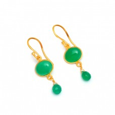 Handcrafted Designer Green Onyx Gemstone 925 Sterling Silver Gold Platd Earrings