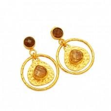 Handmade Designer Smoky Quartz Citrine Gemstone 925 Silver Gold Plated Earrings