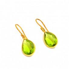 Pear Shape Green Quartz Gemstone 925 Sterling Silver Bezel Setting Gold Plated Earrings