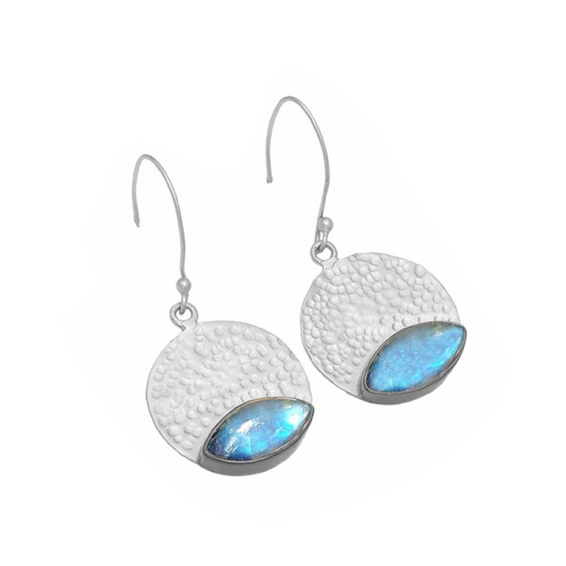 Labradorite Gemstone 925 Sterling Silver Gold Plated Dangle Hammered Earrings
