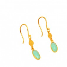 925 Sterling Silver Chalcedony Oval Shape Gesmtone Gold Plated Dangle Earrings
