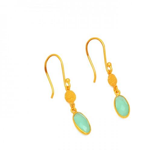 925 Sterling Silver Chalcedony Oval Shape Gesmtone Gold Plated Dangle Earrings