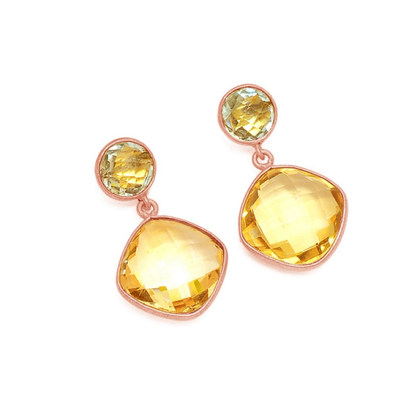 Blue Topaz Citrine Gesmtone 925 Sterling Silver Gold Plated Stud Dangle Earrings